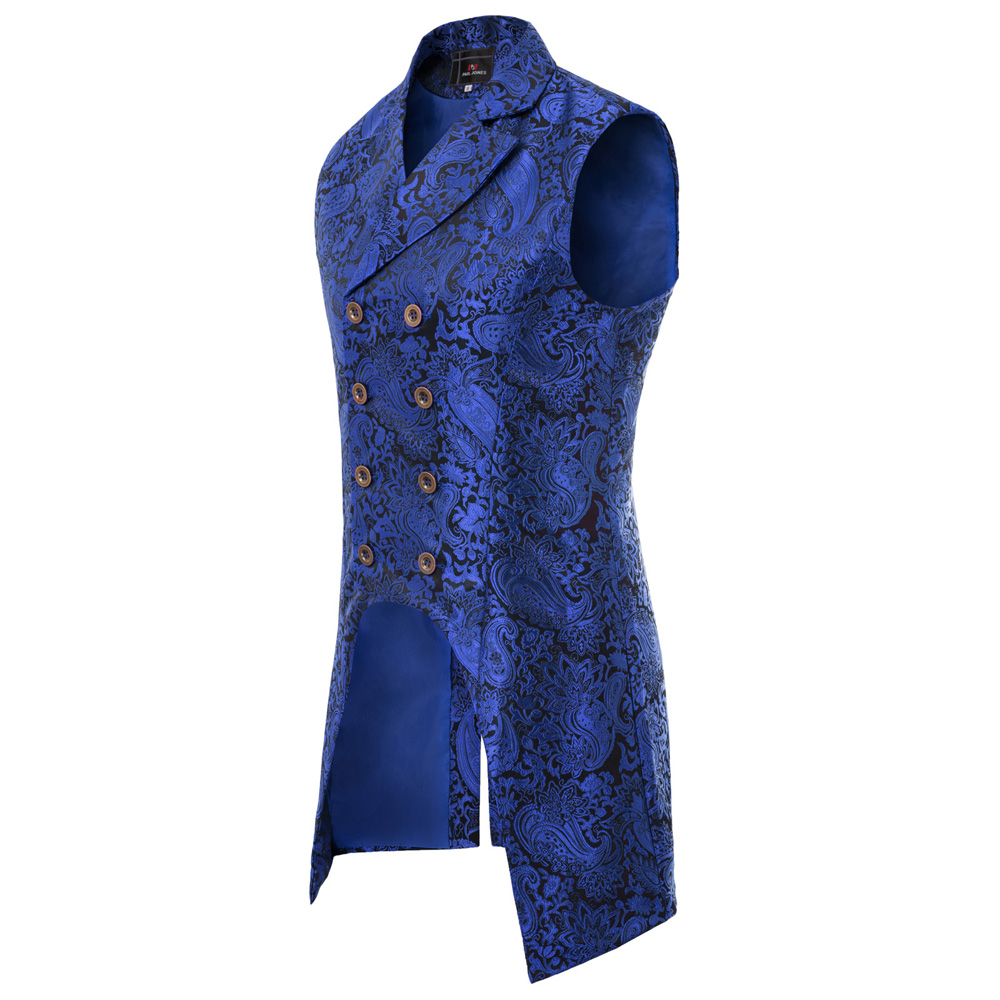 He643a4cc968245418d4edac229c7ab9c4 vintage style Men coats medieval Steampunk Gothic Sleeveless Lapel Collar Double-Breasted formal prom party Jacquard Coat