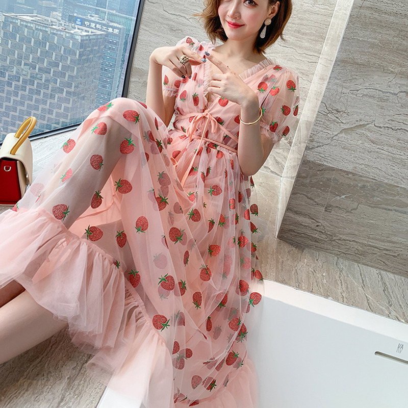 Runway Rhinestone Diamonds Strawberry Pink Mesh Maxi Dress Women Short Puff Sleeve Sexy V-neck Lace-up Bow Tunic Lolita Dress (14)