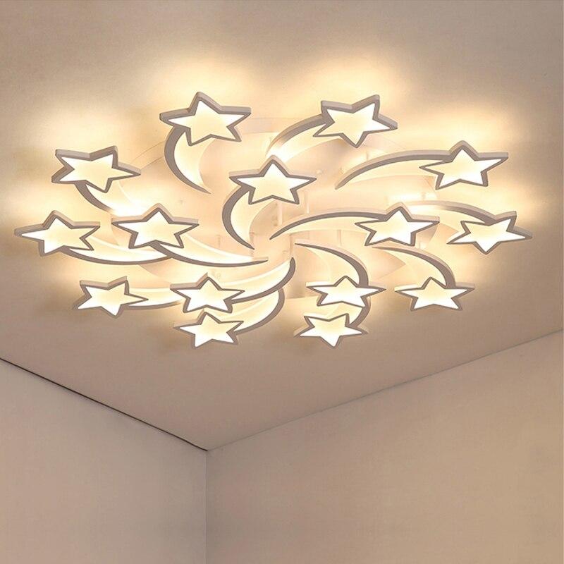 LED נברשת מקורה תאורה ברק נברשות תקרה עם שלט רחוק Lustres סלון חדר שינה מטבח מתקן אור