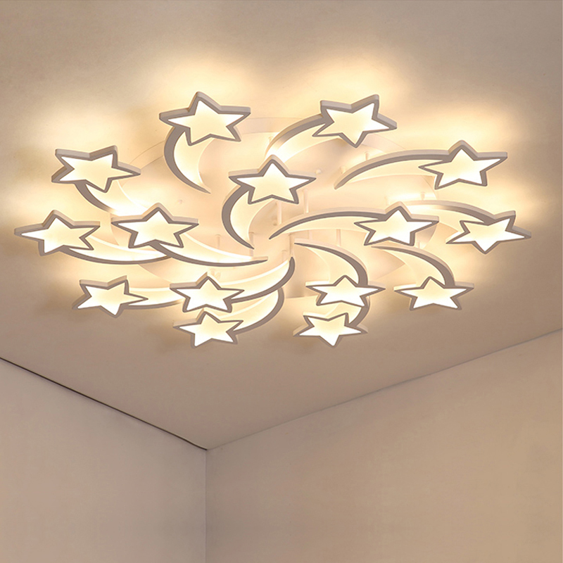 LED ในร่ม Luster โคมไฟระย้าพร้อมรีโมทคอนโทรลห้องนั่งเล่นห้องนอนห้องครัวห้องเด็ก LIGHT