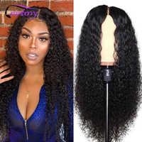 De arándano de la onda rizada del pelo cierre peluca Remy brasileño rizado peluca con malla frontal pelucas de cabello humano para las mujeres negras Prelucked cabello