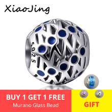 New 925 Sterling Silver charms round shape  Beads with blue enamel Fit original pandora Bracelet diy fashion Jewelry for women