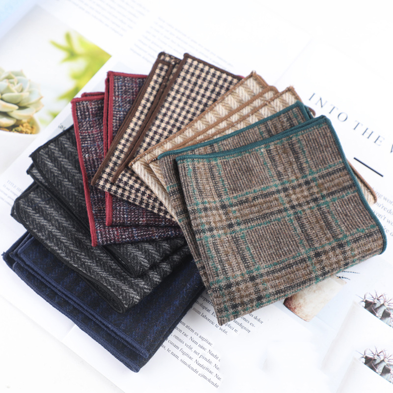Men's Small Square Fashion Joker Wool Wedding Party Dress Handkerchief Casual Stripes A Variety Of Men Pocket Towel Accessories