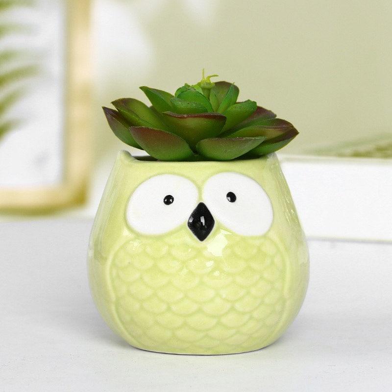 Creative Mini Animal Ceramic Flower Pot Home Decoration Accessories Owl Miniature Fairy Garden Decoration Succulent Flower Pots Just6F