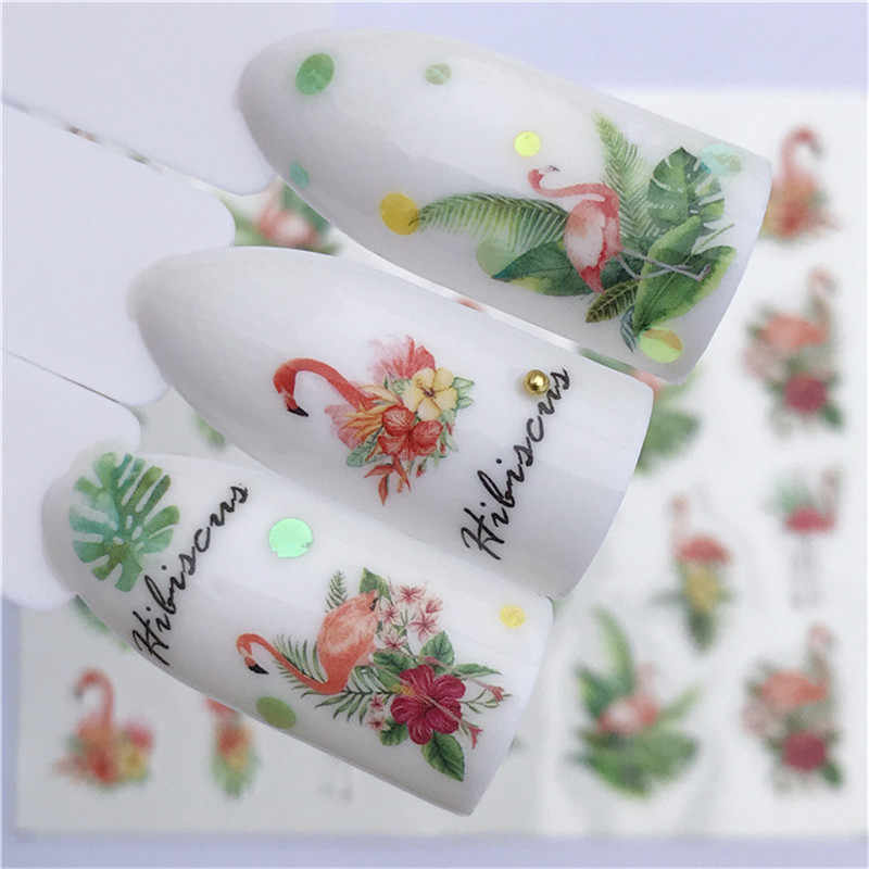 1pcs Nail Stickers Water Transfer Sticker Cartoon Flamingo Cute Animal Designs Nail Art Slider Manicure Decoration