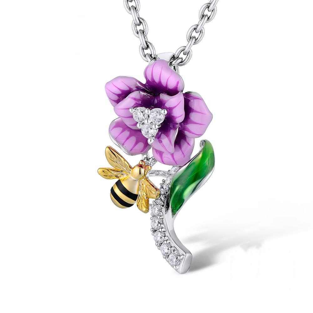 蜂の花シルバー声明ペンダントネックレス女性のユニークなパーソナライズされた紫色エナメルチェーンチャーミングネックレスアニマルジュエリー