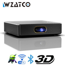 Wzatco s5 hd 4k real 3d dlp projetor bateria com zoom, keystone automático, android 6.0 wifi led smart proyector bluetooth airplay