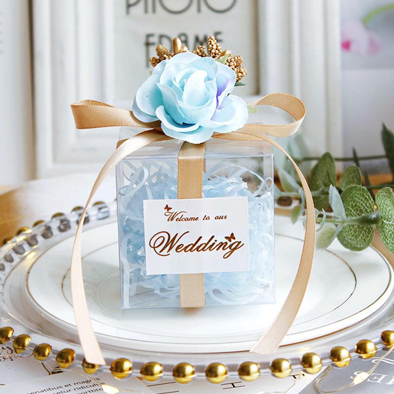 wedding : 25Pcs lot Romantic candy box Transparent  PVC Birthday Gift Box packaging Souvenir boxes Chocolate Bags Wedding Party Supply