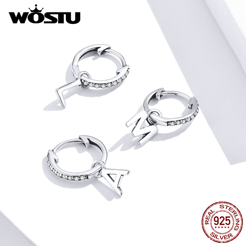 WOSTU 925 Sterling Silver Letter Simple Heart Sweet Party For Girls Women Gift Personalized Hollow Wedding Jewelry