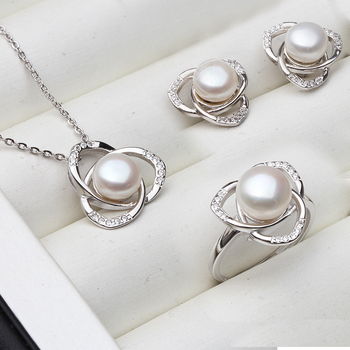 925 Silver Necklace Natural Pearl Jewelry Set Jewelry Pearl Jewelry