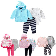 Newborn Baby Girl Clothes Winter Infant Clothing Hooded jacket+Bodysuit+Pants Fashion Baby Boy Outfit Fall Clothes Set 0-24Month(China)