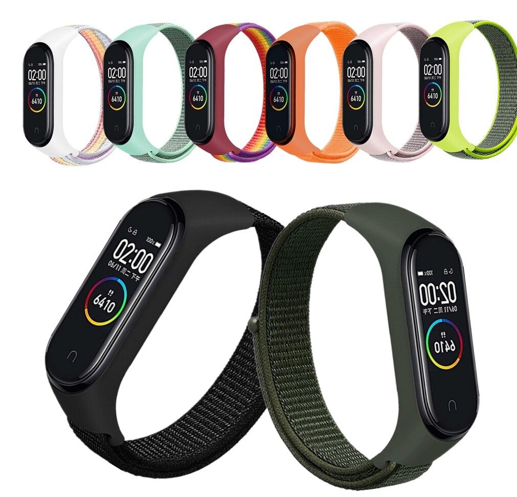 Mi Band 4 3 Nylon Bracelet Smart Watch MIband Strap Replaceable For Xiaomi Mi Band 3 4 Strap Silicone Bracelet Sport Wristband