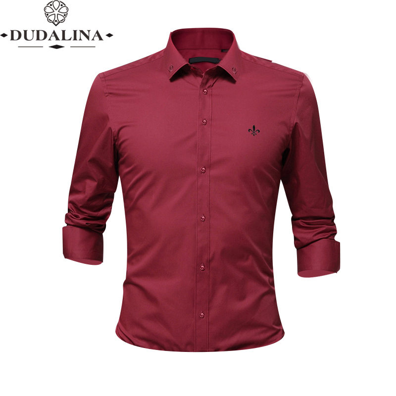 Embroidery Fashion Blusa Camisa Social Masculina Dudalina Long Sleeve Slim Fit Shirt Men Floral Clothing White Male