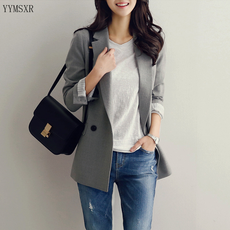 Women's Fashion Jackets 2020 new elegant double-breasted ladies blazer coat Autumn and winter casual temperament small suit
