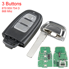 868MHz 3 Button Car Smart Remote Key Fob with PCF7945AC Chip 8T0 959 754 D Auto Key Replacment Fit for Audi A4 A5 A6 Q3 S5 S6 S7