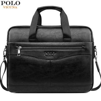 VICUNA POLO Classic Design Laptop Briefcase Men's Business Office Computer Handbag Waterproof Leather Crossbody Bags Casual Bag