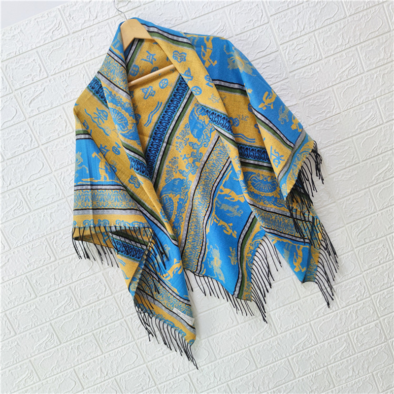 Ethnic Style Big Square Scarf Style Scarf Shawl Female Autumn And Winter Warm Travel Super Large Seven-Color Shawl Шарфы Женские