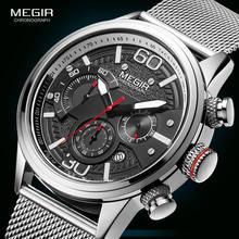 Модные мужские часы megir 2020 роскошные брендовые кварцевые