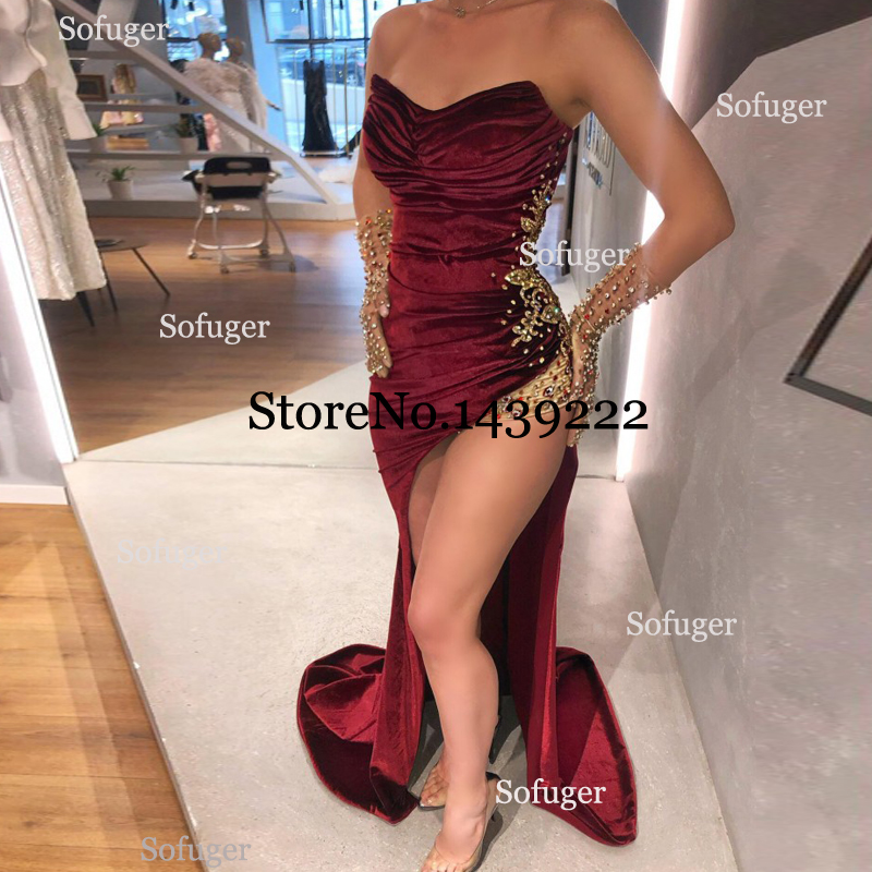 Burgundy Ruffles Mermaid Evening Dresses Slit Appliques Beads Saudi Arabic Special Occasion Robe De Soiree Formal Prom NO Gloves