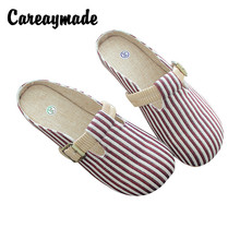 Careaymade-Stripe Retro-classical Literature and Art Summer Sandals,Sandy Beach Womens Leisure Flat-soled Slippers