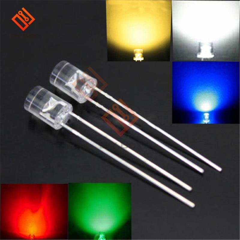 50PCS NEW 5MM 2Pin Flat Top Green LED Wide Angle Flat Head Light Lamp