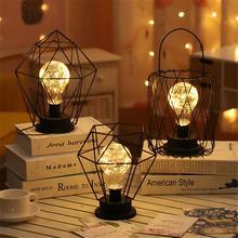 Винтажный кованый железный фонарь с бриллиантом, ночник, светодиодный светильник для спальни, настольная лампа из кованого железа, декоративная лампа для столовой, спальни