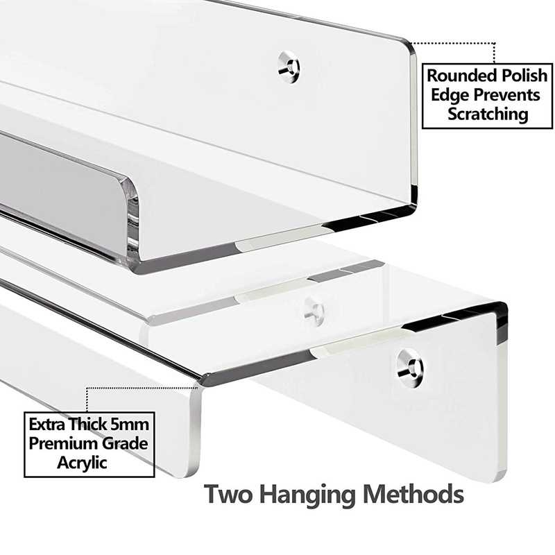 Set of 2 MEETWARM 15 Inch Acrylic Floating Wall Ledge Shelf Bathroom Shelves 4 Inch Depth Wall Mounted Non Drilling Thick Storage Display Shelvings Organizer
