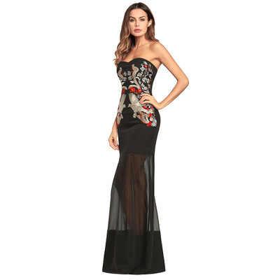 Sexe 2020 nouveau sans bretelles robes d'été femmes élégant broderie dos nu robe de soirée Howllow Out femelle Vestidos LX1612