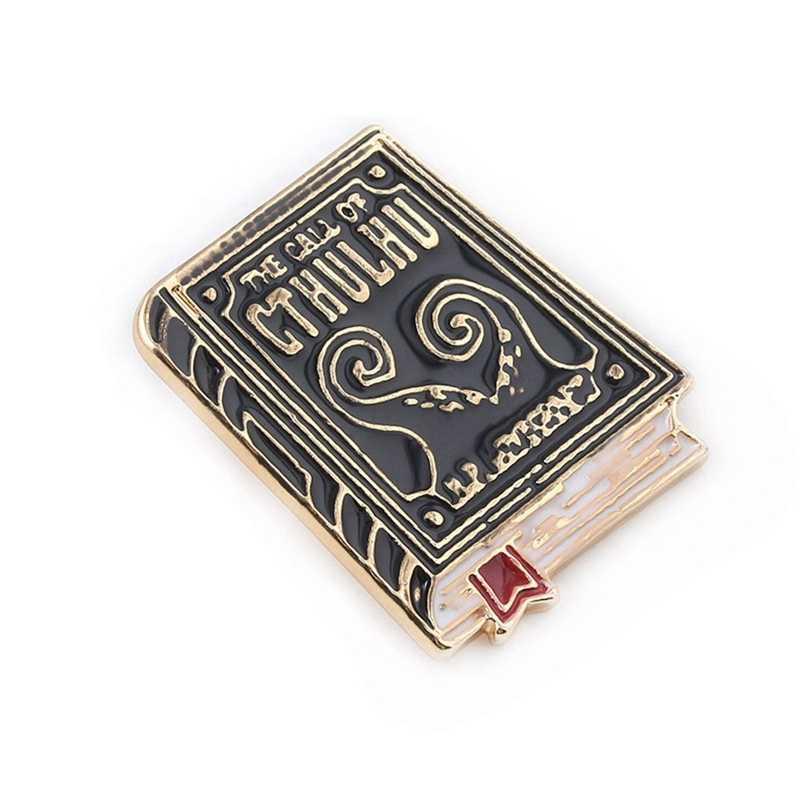 Cthulhu 배지 브로치 lovecraft 도서 문학의 에나멜 핀 브로치 여성을위한 남자 옷깃 핀 보석 선물
