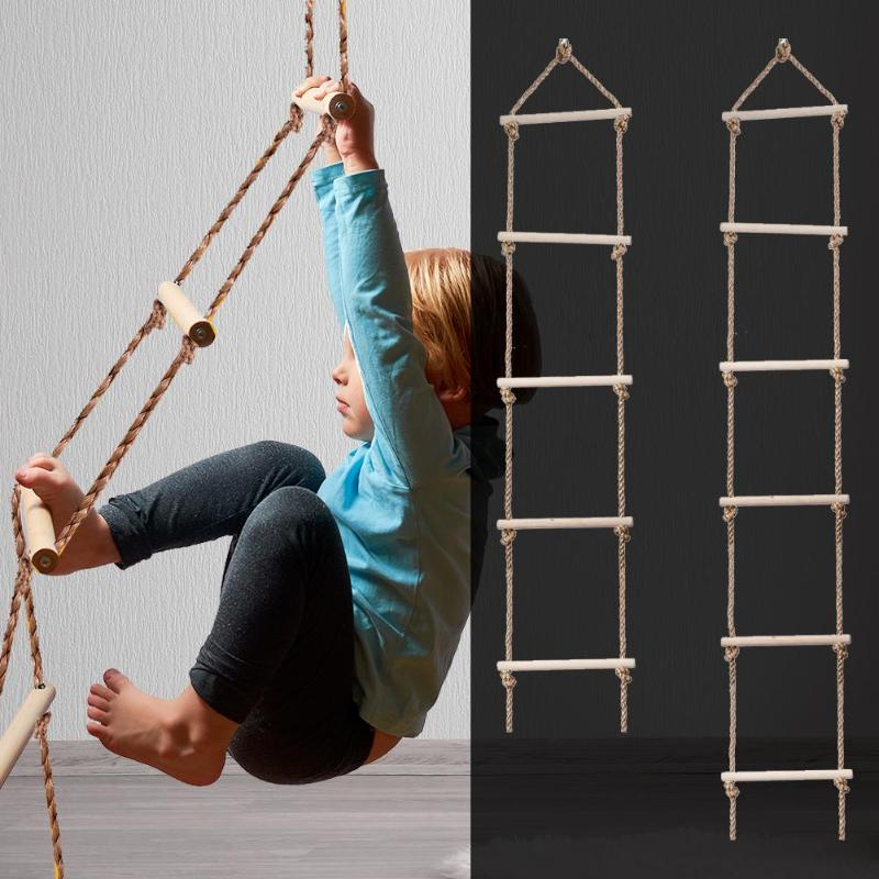 Wooden Rope Ladder Multi Rungs Climbing Game Toy Children Outdoor Activity Safe Sports Rope Swing Swivel Rotary Connector Tools