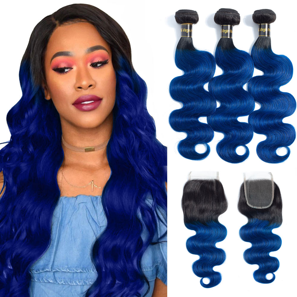 <font><b>Ombre</b></font> Hair <font><b>Bundles</b></font> <font><b>With</b></font> <font><b>Closure</b></font> <font><b>Peruvian</b></font> <font><b>Body</b></font> <font><b>Wave</b></font> 3/4 <font><b>Bundles</b></font> <font><b>With</b></font> <font><b>Closure</b></font> 1B/ Blue Two Tone Human Hair <font><b>Bundles</b></font> <font><b>With</b></font> <font><b>Closure</b></font> image