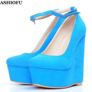 ASHIOFU Handmade Women's Wadge Heel Pumps Buckle Strap Party Dress Shoes Large Size Kid-suede Evening Fashion Pumps Shoes XD218