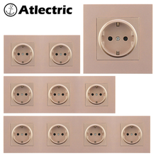 Atlectric EU/DE/RU Standard Power Plug Socket 16A 110-250V Grounding Socket Crystal Plastic Panel Wall Electrical Outlet