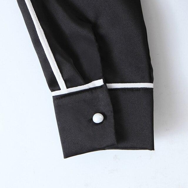 ZA 2020 New Fashion Women Patchwork Solid color chiffon shirt Blouses bowknot Long Sleeve Chiffon Shirt Casual Loose Tops 4