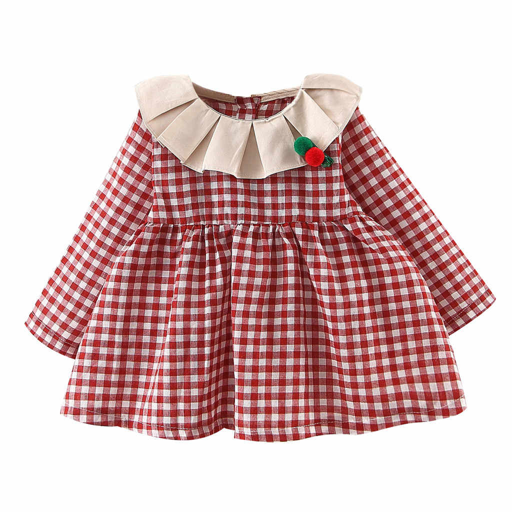 Toddler Girls Doll Collar Plush ball Decorate Dress Long Sleeve Plaid Printed Short Dress Lovely Clothng Daily Wear Robe Fille