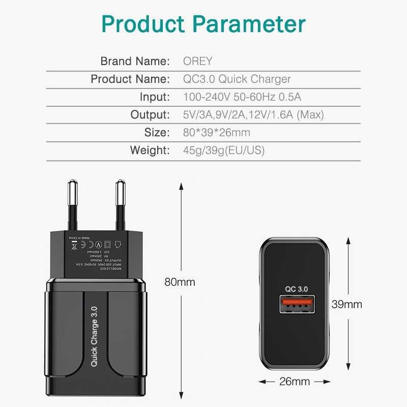 OREY 18 واط شاحن سريع QC 3.0 USB شاحن آيفون X Xr تهمة سريعة 3.0 لسامسونج S10 زائد شياو mi 9 هواوي شاحن الهاتف