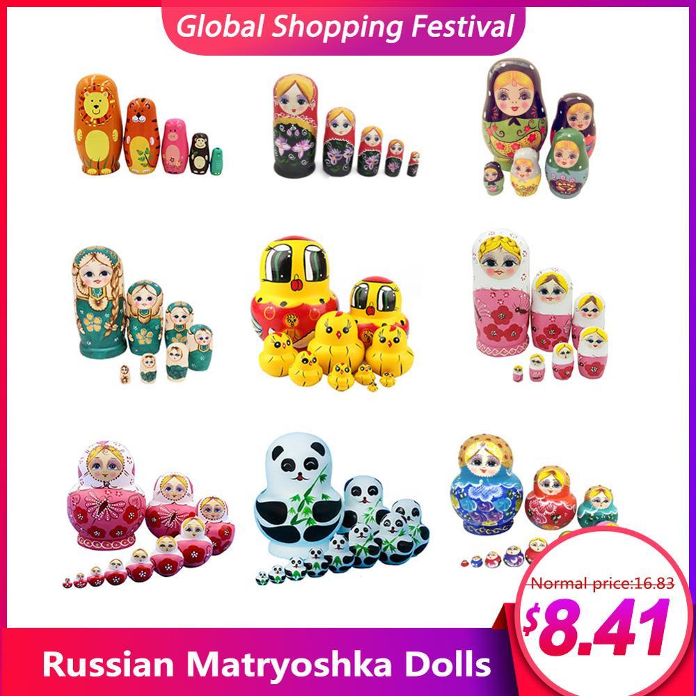 Muñecas rusas de madera Matryoshka, juego de 5/7/10 capas, 9 estilos, Artesanías hechas a mano, anidadas, para niños, regalos de navidad