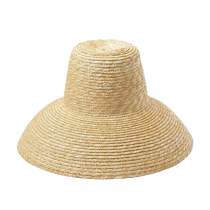 Popular Lamp Shape Sun Hat For Women Big Wide Brim Beach Hat High Top Straw Hat Uv Protection Hat