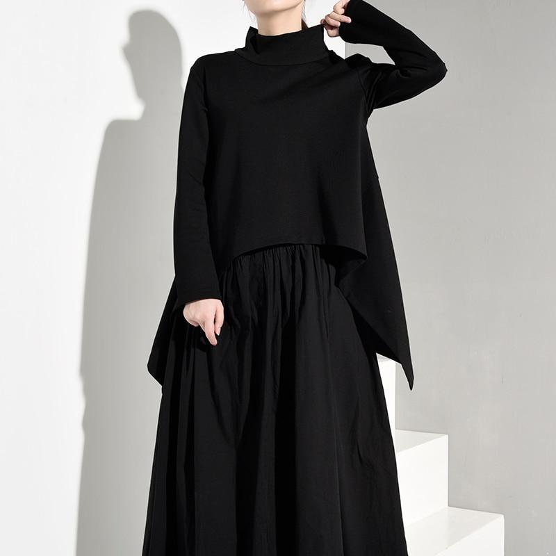 [EAM] 2020 New Spring Autumn High Collar Long Sleeve Black Irregular Hem Loose Big Size Sweatshirt Women Fashion Tide JK3970