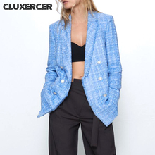 2020 New Spring Autumn Vintage Plaid Tweed Blazers Jackets Women Chic Button Long Suit Coat Female Tops Office Ladies Suit