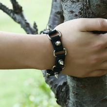 Cuff Bracelet with cross Fashion Gothic Metal Cone Stud Spikes Rivet Leather Wristband Men Punk Style Bangle punk style tiered cone rivet and faux leather beads bracelet for women