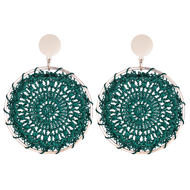Sun Totem Ethnic Woven Cotton Earrings for Women Bohemian Round Alloy Big Drop Dangle Earrings Female Fashion Jewelry Wholesale