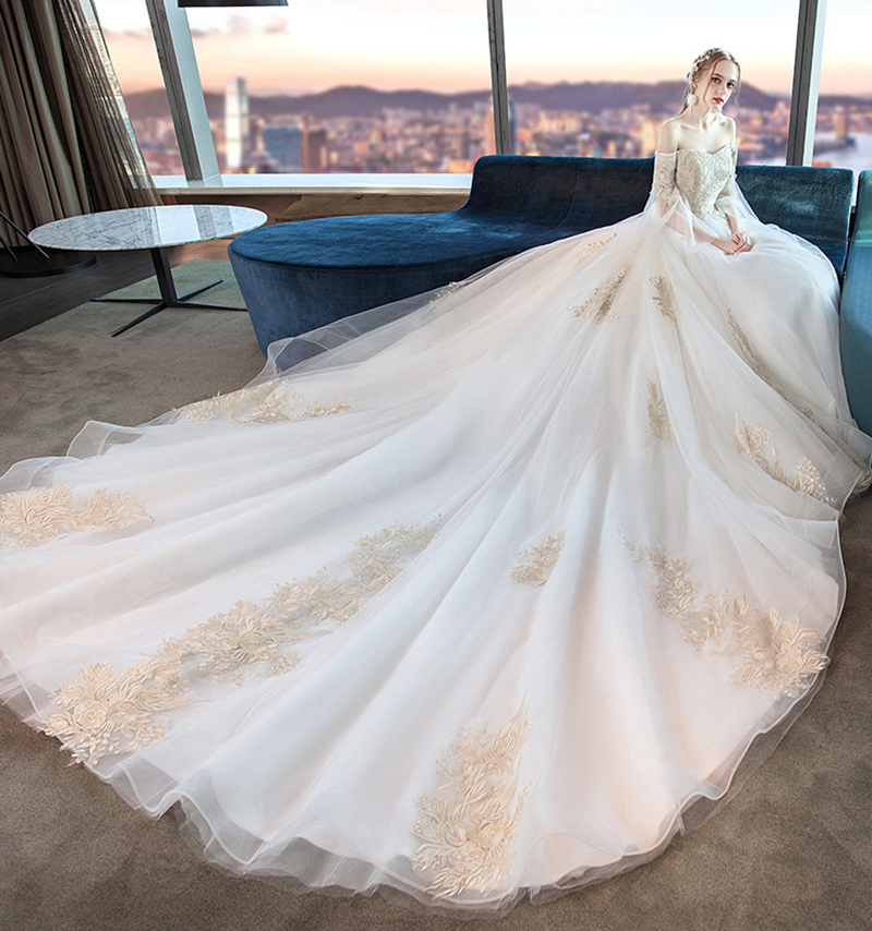 Luxury Lace Embroidery 2019 Wedding Dresses 100cm Long Train White Ivory Elegant Plus Sizes Vestido De Noiva свадебное платье