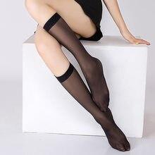Женские нейлоновые чулки средней длины, ультратонкие носки до колена, женские телесного цвета, черные чулки средней длины, полуоблегающие ч...