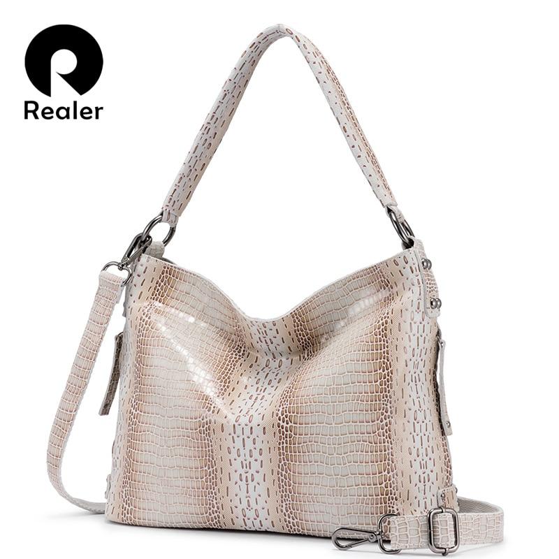 REALER Woman Genuine Leather Handbags Totes Female Classic Serpentine Prints Shoulder Bag Crossbody Bags Ladies Messenger Bag