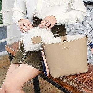 Image 2 - Hit Color Bucket Type Single Fashion Shoulder Package 2019 Luxury Ladies Messenger Bag All Match Shoulder Satchel Portable Woman
