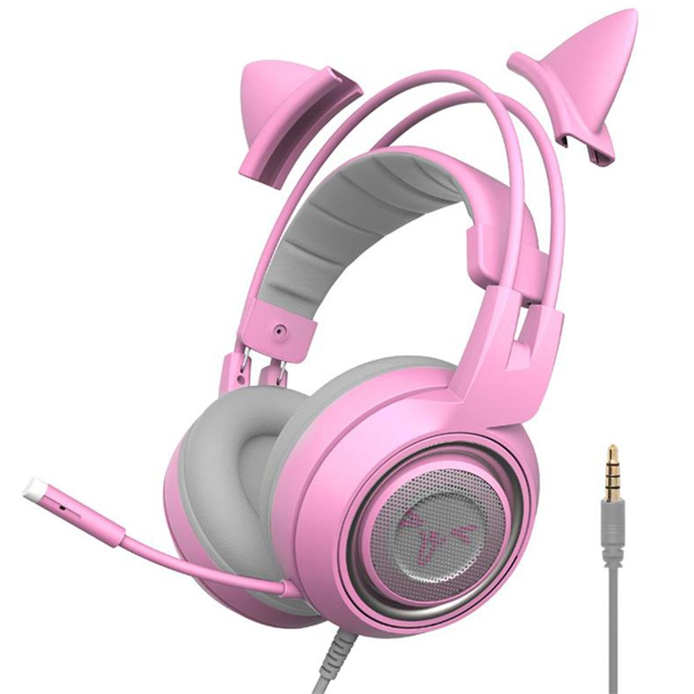 Somic G951S wired Headset 3.5mm Pink Cat Ear Gaming Earphone Profession Noise Reducing Head mounted Earphone for PC Phone Games|Headphone/Headset| - AliExpress