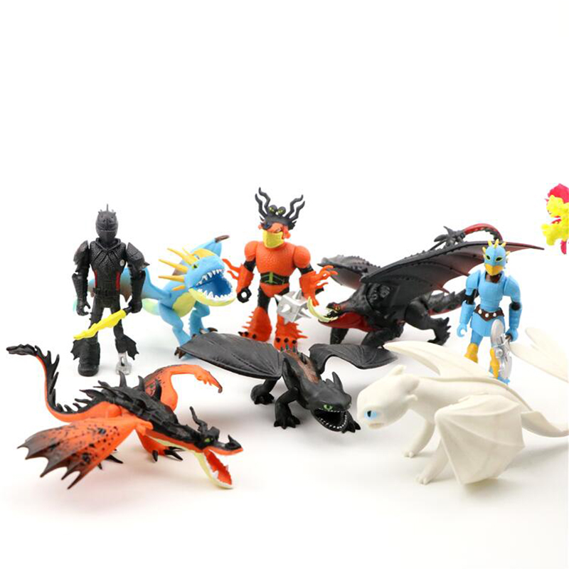 8 Pcs Action Toy Figures How to Train Your Dragon action figure anime figure toothless/light fury astrid stormfly Snotout toy