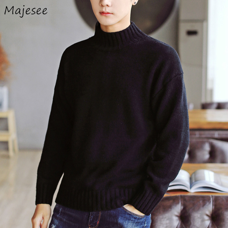 Men Sweater Solid Simple Long Sleeve Top Turtleneck Korean Clothes Mens Sweaters Winter Plus Size Clothing Casual Warm Pullover