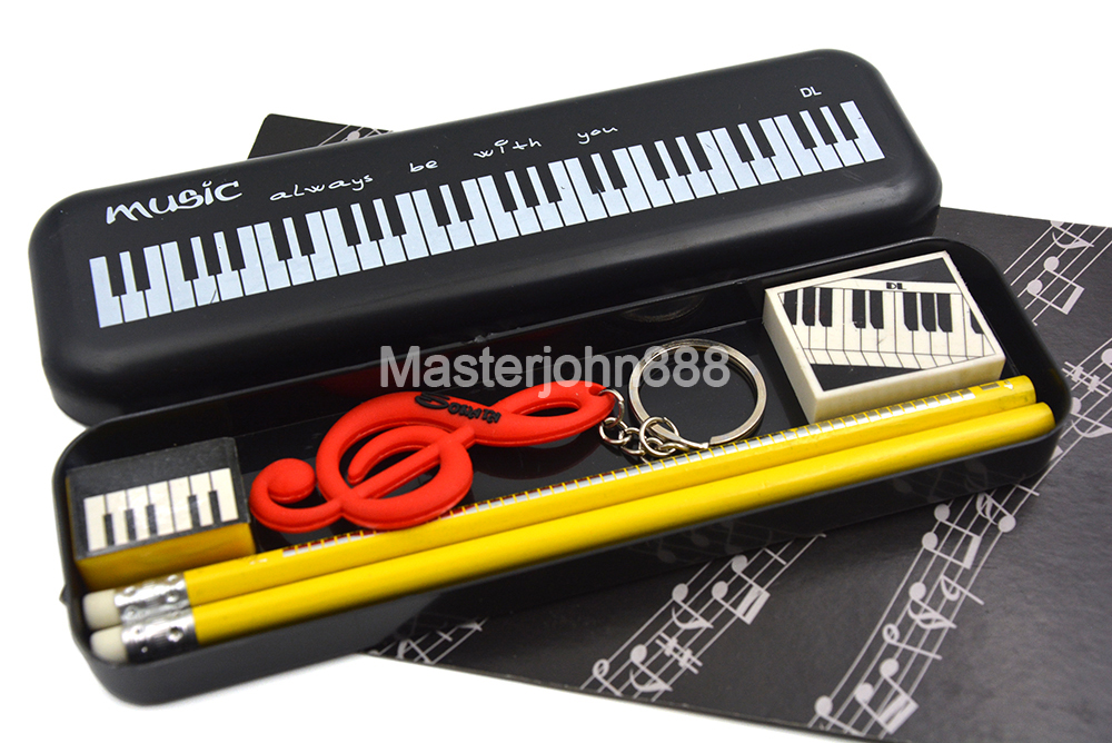 Music Topic Piano Keyboard Pencil Box Case Pencil Eraser Sharpener Keychain Stationery For Student Musician Song Writer Artist